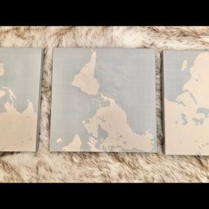 3 Piece Canvas Prints (World Map) [New]
